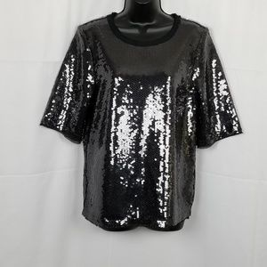 Zara Woman Black Sequined Blouse/Top